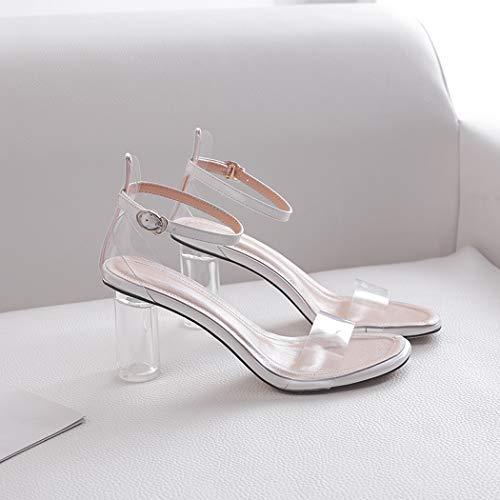 Blanco Annieshoe Vestir Sexy De Tacon Elegantes Zapatos Verano Sandalias Mujer Transparentes vvRx4Z