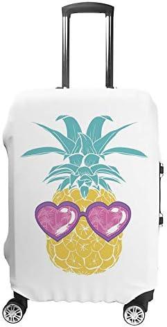 スーツケースカバー トラベルケース 荷物カバー 弾性素材 傷を防ぐ ほこりや汚れを防ぐ 個性 出張 男性と女性メガネでかわいいパイナップル