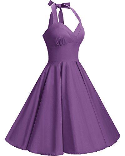 Floral Purple Halter Retro Vestidos de Vintage Bbonlinedress Cóctel Rockabilly 50 Años 1I8RRvU