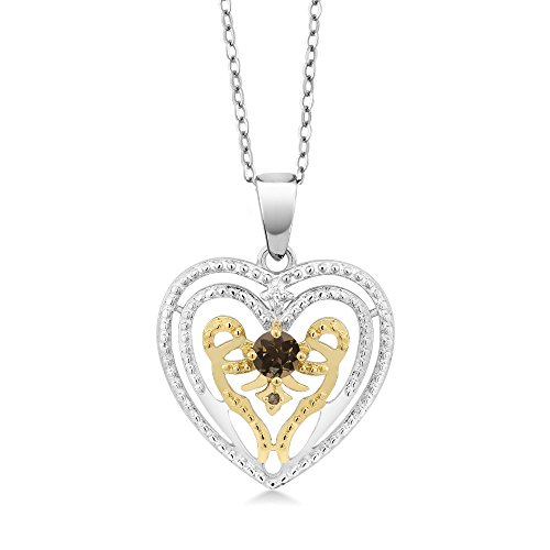 Gem Stone King 0.26 Ct Round Brown Smoky Quartz with Diamond Accent Rhodium Plated Brass Heart Pendant With Chain