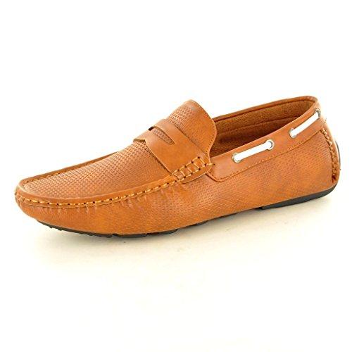 New Men s perforiertem Leder Look Casual Loafer Mokassins Slip auf Schuhe Braun