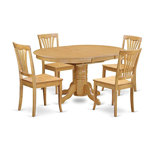 East West Furniture AVON5-OAK-W 5 Piece Dining Table and 4 Chair Set ()