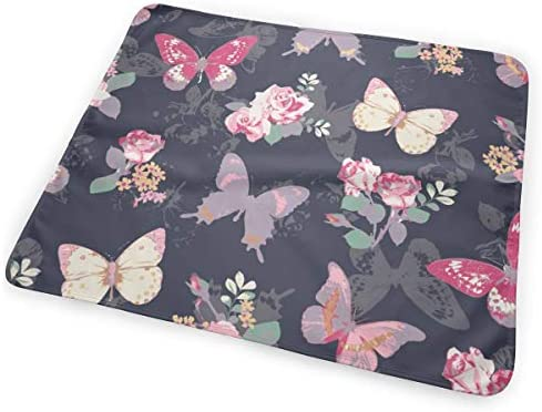 Rose Butter-fly Navy Background 小さいながらも軽くて柔らかく快適な折り畳みが簡単なハイエンドのファッションシンプルなポップ絶妙なおむつパッド