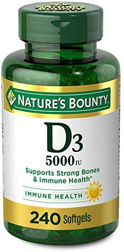 Vitamin D3 by means of Nature's Bounty for Immune Support. Vitamin D Provides Immune Support and Promotes Healthy Bones. 125 mcg (5000iu), 240 Softgels