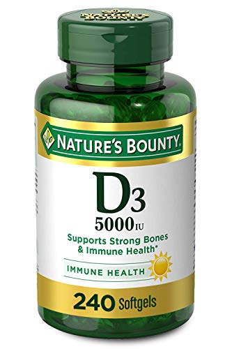Vitamin D3 by Nature's Bounty for Immune Support. Vitamin D Provides Immune Support and Promotes Healthy Bones. 125 mcg…
