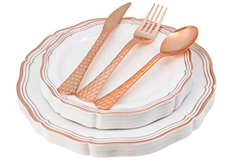 (100 Piece Rose Gold Plates & Disposable Plastic Silverware Party Plates White Rose Gold Rim Silverware Set | Service for 20 Includes 20 Dinner & Salad Plates, 20 Forks, Spoons, Knives - Posh Setting)