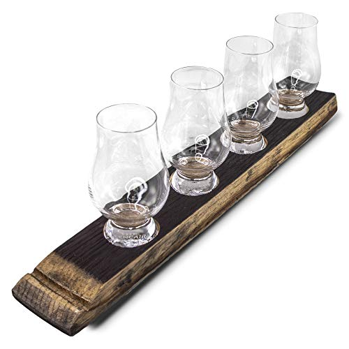 Briar And Oak Barrel Stave Whiskey Flight Tray - Charred Top With 4 Glencairn Whiskey Glasses - Made In The USA