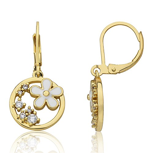 Little Miss Twin Stars Girl's Frosted Flowers 14k Gold Plated Open Circle Dangle Earring with Cz