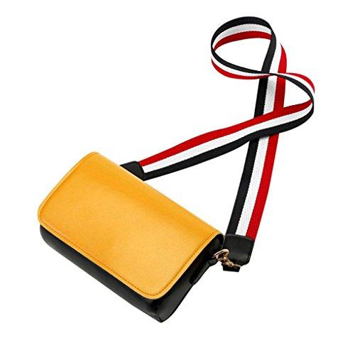 Bolsa de hombro Mujeres Color ancha correa de hombro del bolso de la PU de la aleta del hombro de cuero del bolso femenino del mensajero remiendo bolsa Mengonee Amarillo
