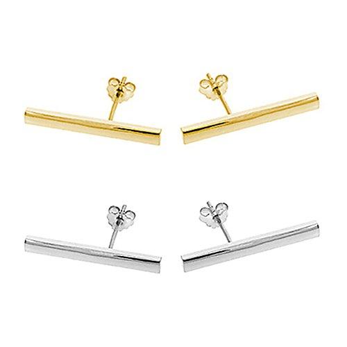 Minimalist Sterling Earrings Flashed Rhodium