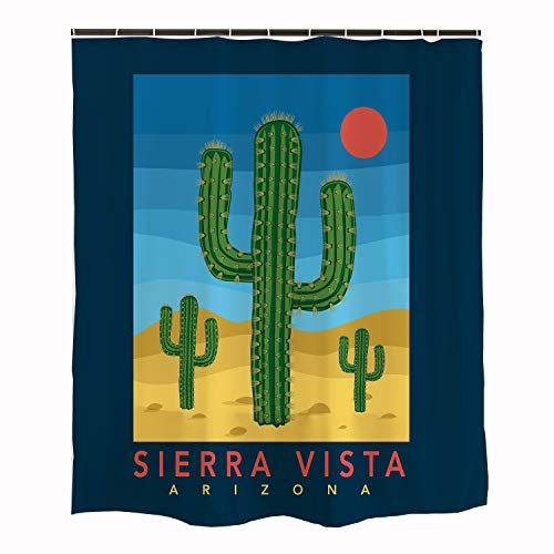 Ofat Home Blue Funny Planets Shower Curtain with 12 Plastic Hooks 71''x71'', Waterproof Fantastic Sierra Vista Cactus Desert Sun Decorations Bathroom Accessories ()