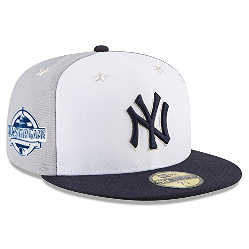 All Star Game Cap - New Era New York Yankees 2018 MLB All-Star Game On-Field 59FIFTY Fitted Hat – White/Navy (7 1/2)