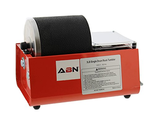 ABN Rolling Rock Tumbler Kit - 3 lb Pound Single Drum Rock Polisher - Polishing Tumbling Machine Set for Kids & Adults ()