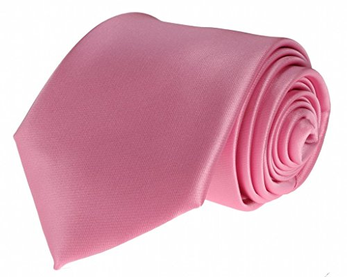 Mens Necktie Bright Colorful Pink Tie with Pocket Square