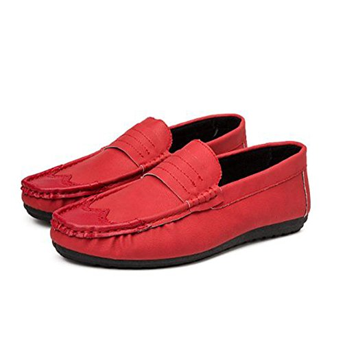 per da Mocassino in Scarpe da Uomo Casual Mocassini Rosso Microfibra Scarpe Barca Passeggio Pelle da Ewx7qWYC
