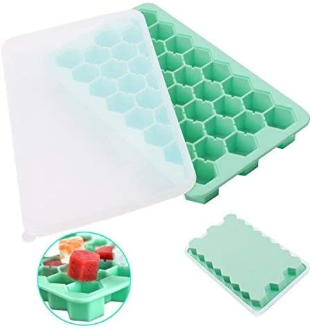 Silicone Flexible Ice Cube Tray Hexagonal w Lid Removable for Whiskey Popsicles