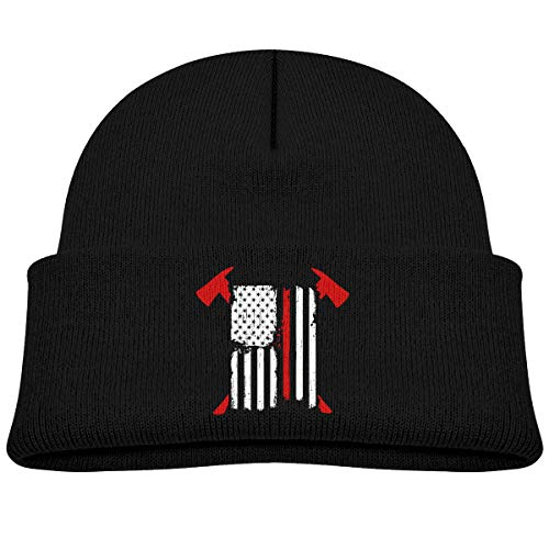 Firefighter Red Line American Flag with Crossed Axes Customized Newest Kid Winter Warm Beanie Knit Hat Boy/Girl Skull -