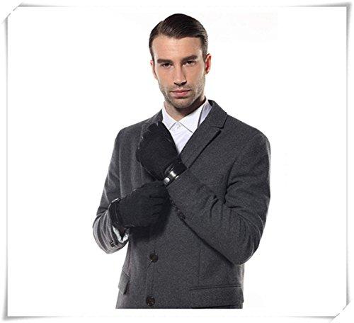 CWJ Leather Gloves Men Winter Warm Patchwork Gloves,Black,Large by CWJ (Image #5)