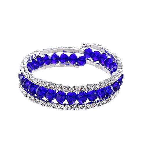 Sinfu Women's Multi-Layer Crystal Diamond Bracelet Jewelry Multi-Color Crystal Geometric Beads Connected Bracelet Bangle for Girls- Gift (Blue)