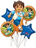 GO DIEGO Go JAG Birthday PARTY (5) Balloons Balloon BOUQUET Foil MYLAR Kit SET by LGP