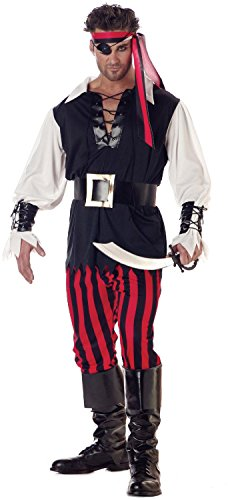 California Costumes Men's Adult-Cutthroat Pirate, Black/Red/White, L (42-44) -