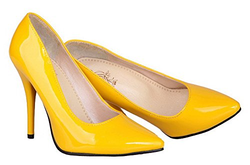 Amoonyfashion Womens Puntige Neus Hoge Hakken Lakleder Solide Pumps-schoenen Geel