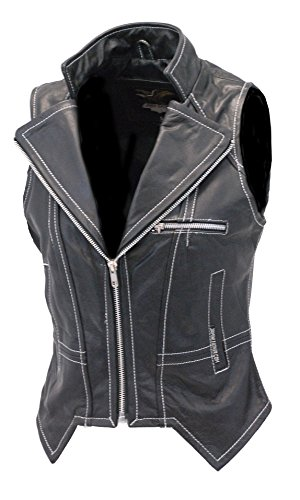 Jamin' Leather Women's Naked Leather Vest w/White Stitching (3XL) #VL907ZWK