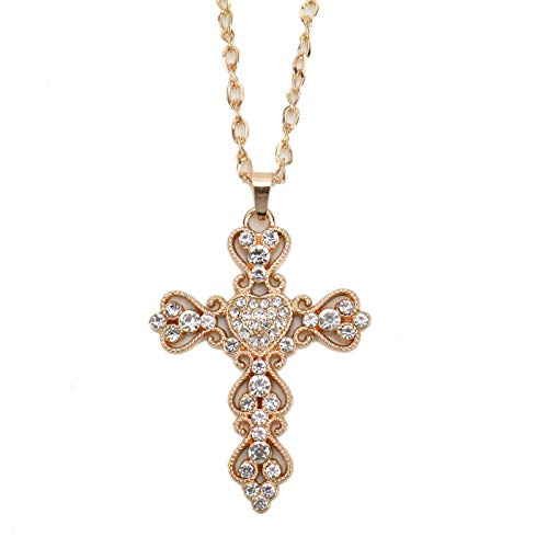 WSSROGY 2Pcs Blessed and Holy Necklace for Women Purse Charms for Handbags Crystal Rhinestones Heart Cross Pendant with Key Ring ()