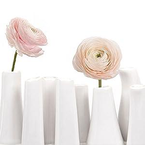 Chive - Pooley 2, Unique Rectangle Ceramic Flower Vase, Small Bud Vase, Decorative Floral Vase for Home Decor, Table Top Centerpieces, Arranging Bouquets, Set of 8 Tubes Connected (White) 2