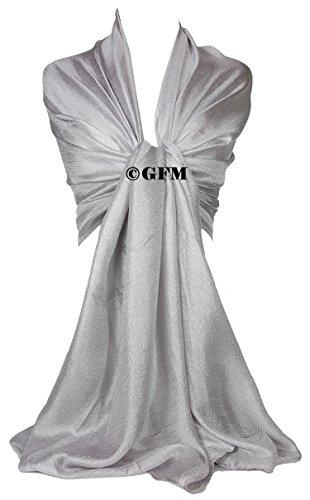 Evening Hijab sedoso para bufanda Wrap ch gasa slk2 Silver honor Slk2 de boda 01 chal damas satén GFM 70tqwgg