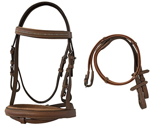 Pony English Padded Bridle with Crystal Accents and with Web Reins (Tan)