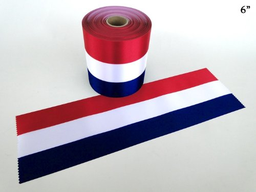 6'' Wide RED/WHITE/BLUE Ceremonial Ribbon for Grand Openings/Re-Openings and Ribbon Cutting Ceremonies - 50 Yard Roll