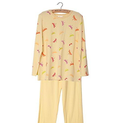 Primavera/verano pijamas de la mujer/Dulce impresión de manga larga pantalones de paquete de servicio a domicilio/ vistiendo pijamas A