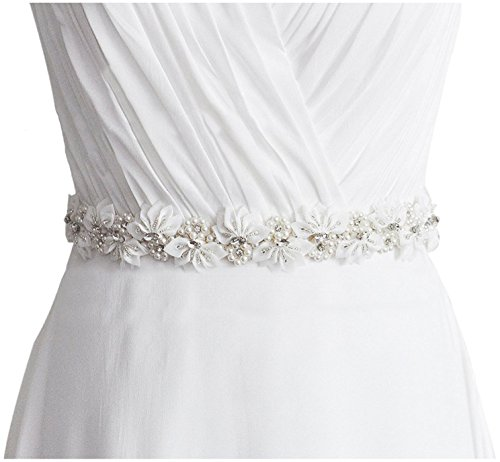 Lovful Womens Floral Beads & Rhinestone Flower Bridal Wedding Party Dress Belts,Ivory,One Size by Lovful