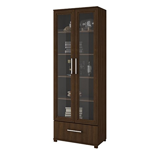 Dining Room Glass Curio Cabinet - Atlin Designs 5 Shelf Curio Cabinet in Tobacco