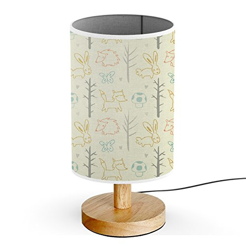 ArtLights - Wood Base Decoration Desk / Table / Bedside Lamp [ Sketches Forest Animals With Trees ]