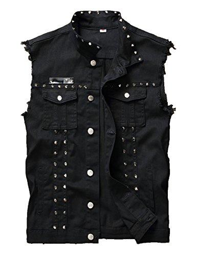 (DSDZ Men's Punk Denim Vest Sleeveless Jean Jackets with Rivets (US L, Black))