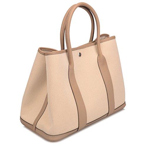 Ainifeel Women's Genuine Leather Top Handle Handbag Shopping Bag Tote Bag (Taupe(leather+canvas)) by Ainifeel