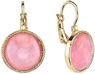 Gold-Tone Pink Leverback Earrings