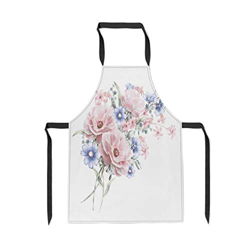 Pinbeam Apron Watercolor Flowers Floral in Pastel Colors Rose Bunch with Adjustable Neck for Cooking Baking Garden