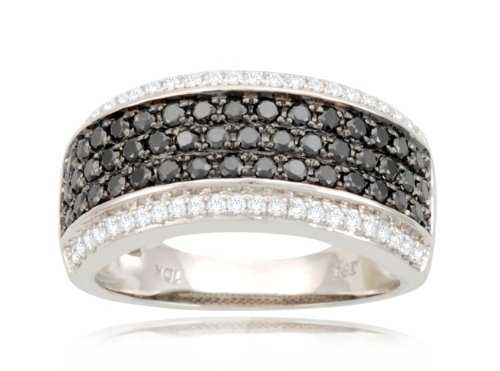 10k White Gold Band Style White and Black Diamond Ring (9/10 cttw, I-J Color, I2-I3 Clarity), Size 7