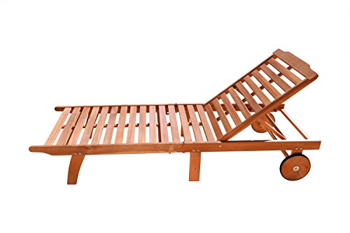 VIFAH V255 Outdoor Wood Single Chaise Lounge, Natural Wood Finish, 75 by 28 by 13-Inch - Chaise Outdoor Single
