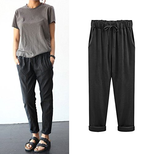 pantaloni cotone per donne taglia vita G ANYIKE pantaloni pantaloni Loose Khaki lino lino in in L BLACK elastico casual Plus C e wqx7ZXBAx