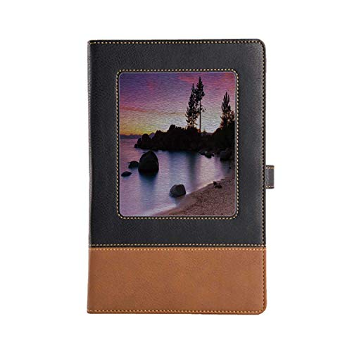 DIY Series Notebooks Lake House Decor Rich Patterns and Various Styles Leather Notebook 8.6 6.1 Inches, A5