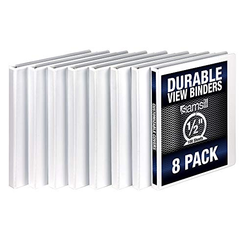 Samsill 3 Ring Durable View Binders - 8 Pack, 1/2 Inch Round Ring , Non-Stick Customizable Clear Cover, White