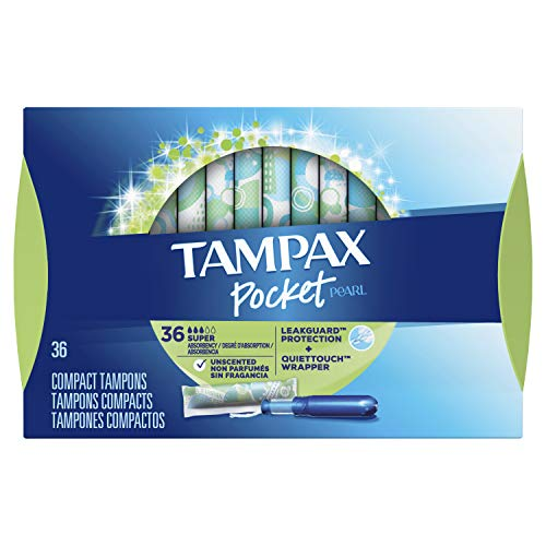 Tampax Pocket Pearl Compact Tampons with Plastic Applicator, Super Absorbency, Unscented, 36 Count-Pack of 3 (108 Count Total)