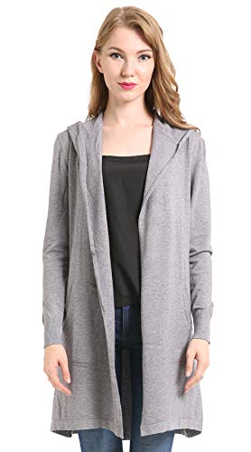BIMOZI Women Hooded Cardigan Sweater Drape Open Front Asym with Pockets Gray L
