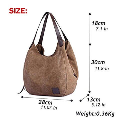 Women's Top Crossbody Shopping Bags Brown Shoulder Handbags Bags Tote Causal Canvas Handle O1FqwHrO