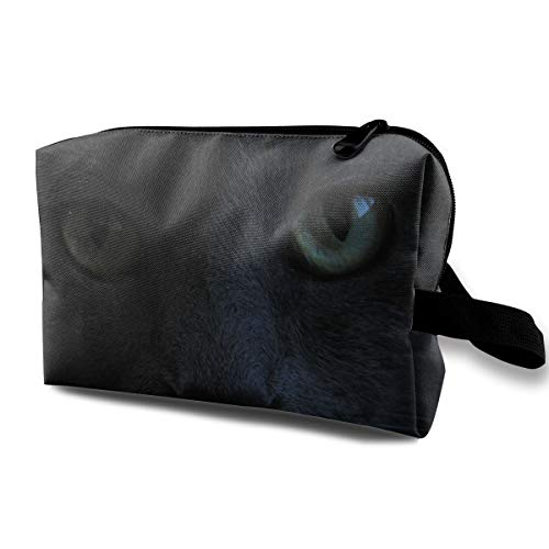 Halloween Black Cat Green Eyes Staring Whiskers Multi-function Travel Makeup Toiletry Coin Bag Case]()