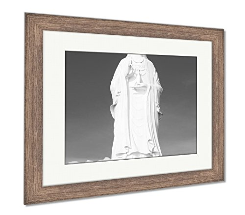 Ashley Framed Prints The Statue of Buddha in Linh Ung Pagoda Da Nang Vietnam, Wall Art Home Decoration, Black/White, 34x40 (Frame Size), Rustic Barn Wood Frame, AG5265154